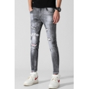 Men's Trendy Letter Printed Patched Knee Slim Fit Black Casual Ripped Jeans