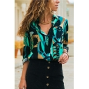 Unique Graffiti Fashion Long Sleeve Loose Fitted Button Down Chiffon Shirt for Women