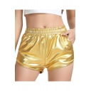 New Stylish Cool Metallic Color Elastic Waist Hot Pants Club Shorts
