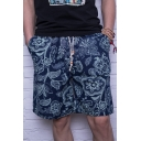 Men's Summer New Floral Pattern Quick Drying Drawstring Waist Beach Shorts Swim Trunks with Pockets