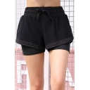 Summer Womens Trendy Fake Two-Piece Drawstring Elastic Waist Breathable Yoga Pull On Shorts