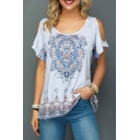 Womens Summer Holiday Tribal Printed Round Neck Cold Shoulder Short Sleeve Casual White T-Shirt