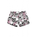 New Stylish White Floral Skull Printed Casual Swimwear Beach Shorts