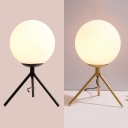 Black/Gold Tripod Table Lamp Modern Style White Glass 1 Bulb Desk Lamp for Bedside