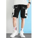 Men's Summer Fashion Letter Printed Ribbon Embellished Multi-pocket Casual Cargo Shorts