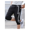 Men's Summer Fashion Lightning Printed Drawstring Waist Casual Cotton Sweat Shorts