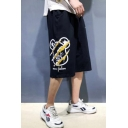 Men's Summer New Fashion Letter Cartoon Scratch Printed Casual Relaxed Cotton Sweat Shorts