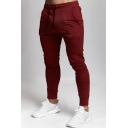 Men's New Fashion Simple Plain Drawstring Waist Skinny Sports Pencil Pants