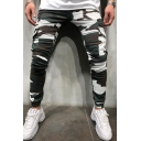 Men's Trendy Cool Camouflage Printed Zipper Embellished Flap Pocket Side Elastic Cuffs Casual Skinny Pencil Pants