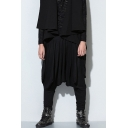Men's Popular Fashion Drop-Crotch Simple Plain Black Loose Casual Harem Pants