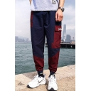 Men's New Fashion Colorblock Letter Printed Elastic Cuffs Hip Pop Casual Cargo Pants