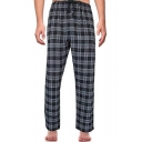 Men's Hot Fashion Plaid Pattern Drawstring Waist Straight Wide-Leg Casual Pants