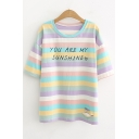 Girls Sweet Letter YOU ARE MY SUNSHINE Print Short Sleeve Striped Casual Cotton Tee