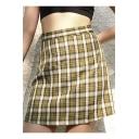 Summer Girls Stylish Yellow Check Pattern High Rise Mini A-Line Skirt