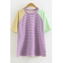 Summer Fashion Color Block Pinstripe Printed Short Sleeve Loose Tee for Girls