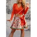 Girls Cute Cartoon Santa Claus Printed Bow-Tied Waist Lace-Trim Mini A-Line Skirt