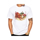 Japanese Style Funny Cartoon Octopus Noodle Printed Short Sleeve White Tee