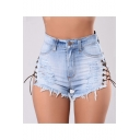 Womens New Stylish Light Blue Sexy Hollow Out Lace-Up Side Frayed Hem Skinny Fit Nightclub Denim Shorts