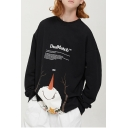 Funny Cartoon Snowman Letter DOULMATCH Printed Crewneck Long Sleeve Loose Sweatshirt