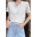 Girls Designer Fancy Plain White V-Neck Short Sleeve Button Front Lace Shirt Blouse