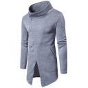 Mens Simple Plain Unique Oblique Button Front Stand Collar Long Sleeve Longline Sweatshirt Coat
