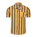 Mens Stylish Yellow Vertical Striped Print Short Sleeve Button Up Cotton Shirt