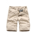 Men's Summer Trendy Embroidery Pattern Zip-fly Casual Chino Shorts