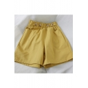 Fancy Button Embellished Elastic Waist Simple Plain Wide-Leg Casual Shorts