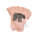 Popular Mama Bear Print Light Pink Short Sleeve Loose Fit T-Shirt