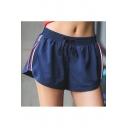 Womens Unique Zipper Side Drawcord Waist Sport Running Shorts