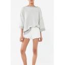 New Stylish Unique Reverse Crewneck Long Sleeve Light Grey Loose Sweatshirt
