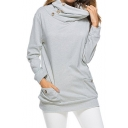 Womens Popular Button Cowl Neck Long Sleeve Plain Loose Fit Sweatshirt