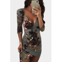 Womens Fancy Floral Applique Sexy Plunging Neck Open Back Mini Bodycon Asymmetric Dress
