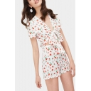 Womens New Stylish White Floral Print Plunge V-Neck Short Sleeves Cutout Bow Knot Tie Fitted Rompers