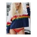Womens Trendy Rainbow Color Block Round Neck Long Sleeve White Pullover Sweatshirt
