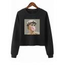 Vaporwave Bubble Statue Print Round Neck Long Sleeve Crop Sweatshirt