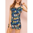 Sweet Girls Hot Sale Fashion Bow-Straps Sleeveless Floral Tree Print Ruffle Trim Chic Rompers