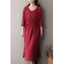 Womens Plain Vintage V Neck Long Sleeves Drawstring Waist Cotton and Linen Casual Loose Midi Dress
