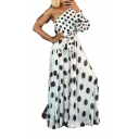 New Arrival Polka Dot One Shoulder One Sleeves High Waist Self Tie Flare Maxi Party Dress