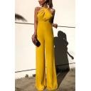 Womens Hot Popular Yellow Halter Sleeveless High Waist Wide Leg Long Pants Jumpsuits for Party