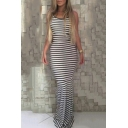 Summer Hot Trendy Striped Print Crisscross Back Fishtail Floor Length Paty Dress