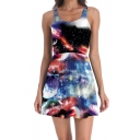 Womens Hot Sexy Colorful Galaxy Print Sleeveless Pleated Tank Skater Dress