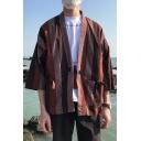 Mens Fashion Striped Print Three-Quarter Sleeve Beach Kimono Shirt Blouse