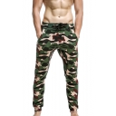 Men's Popular Fashion Cool Camouflage Printed Drawstring Waist Casual Cotton Sweatpants Pencil Pants
