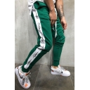 Men's Street Style Colorblock Letter Printed Side Patched Drawstring Waist Slim Fit Casual Cotton Pencil Pants