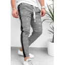 Men's Popular Fashion Colorblock Side Patched Plaid Pattern Drawstring Waist Grey Casual Cotton Pencil Pants