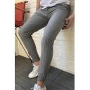 Men's New Stylish Pinstripe Pattern Casual Skinny Pencil Pants