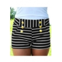Womens Fancy Button Embellished Black Striped High Rise Skinny Shorts