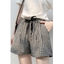 Trendy Black and White Plaid Print Drawstring Waist Cotton Loose Pull-On Shorts