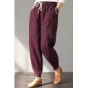 Womens Stylish Plain Drawstring Waist Ankle Grazer Cotton Tapered Pants Trousers
